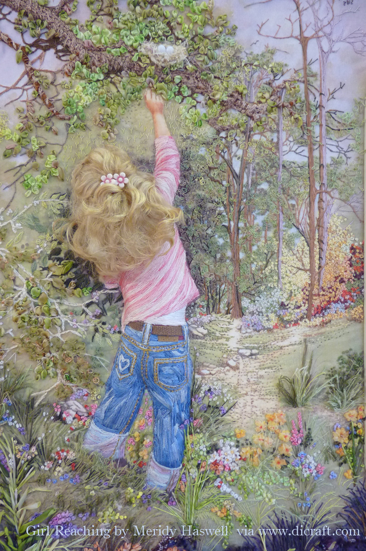 Girl reaching by Meridy Haswell