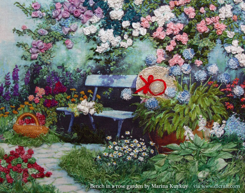 1 Bench in a rose garden by Marina Kukuy