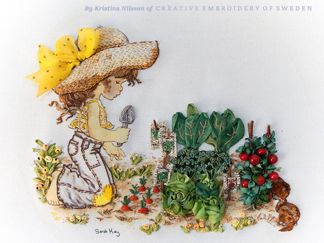 Lynette collecting her vegetables by Kristina Nilsson