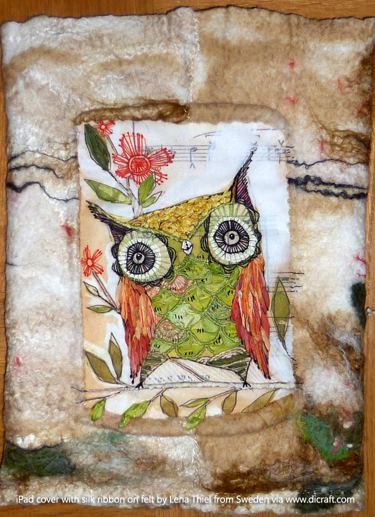1 iPad cover with silk ribbon on felt by Lena Thiel from Sweden