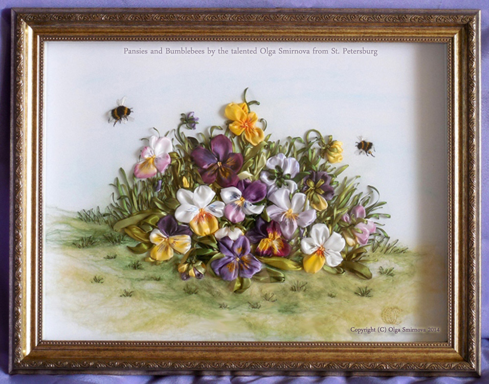 Pansies and Bumblebees by the talented Olga Smirnova from St Petersburg