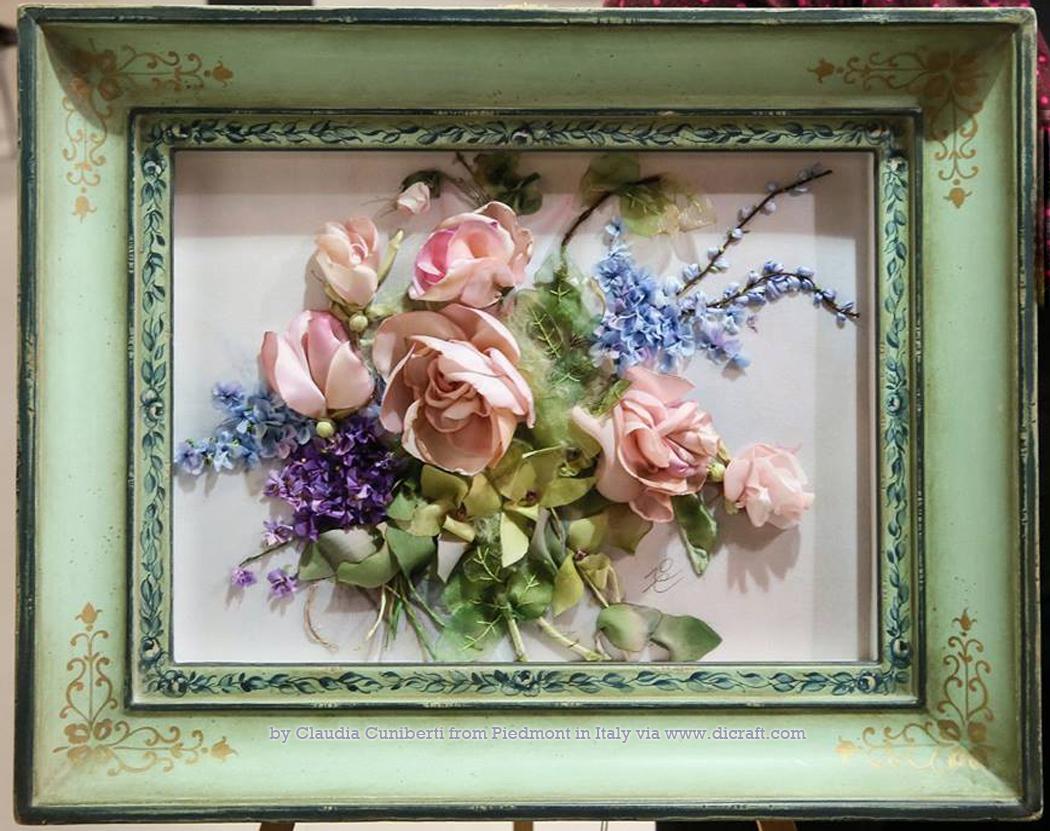 JK4 Wild Orchids, Violets, Roses, Blue Salvia by Claudia Cuniberti