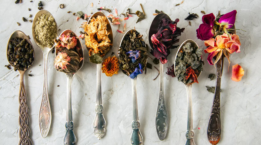 dried green herbs and flowers