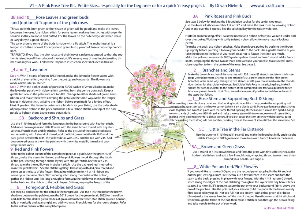 Instruction sheet - how to make a lovely rose tree